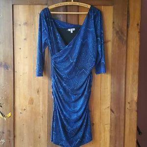 Blue snakeskin body on dress